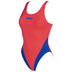 arena Solid Swim Tech High Traje de baño de una pieza Mujer, fluo red/neon blue